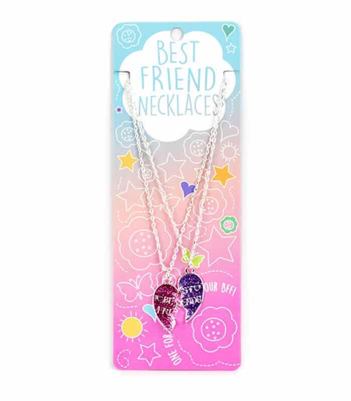 Κρεμαστό Διπλό Κολιέ Μισές Καρδιές Glitter Best Friends