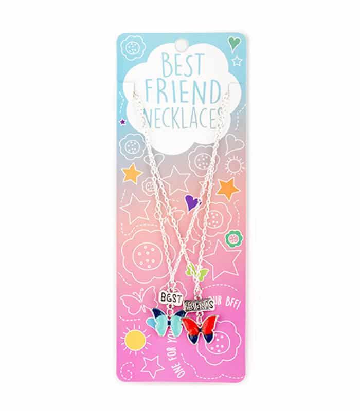 Κρεμαστό Διπλό Κολιέ Πεταλούδες Best Friends Necklaces