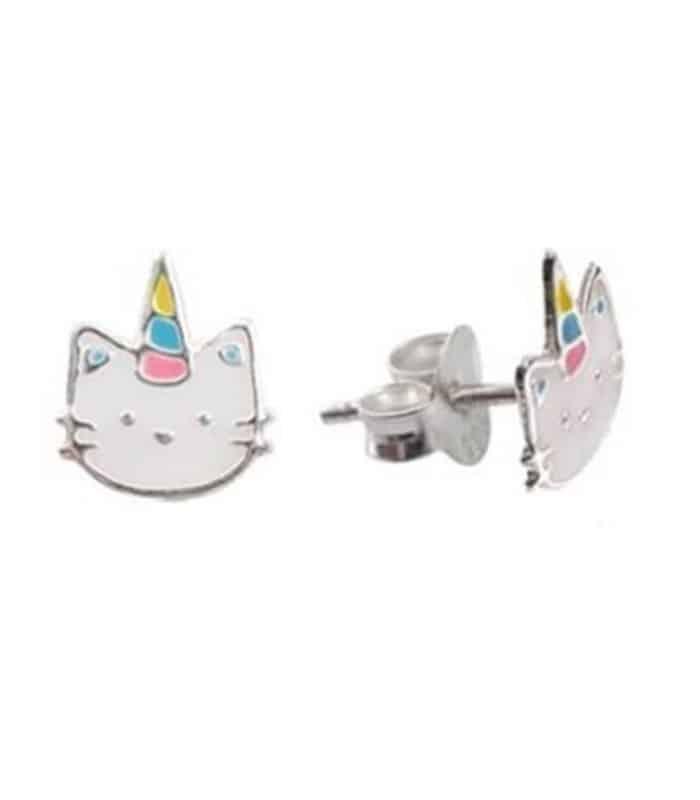 Σκουλαρίκια Παιδικά Ασημένια 925 Γάτα