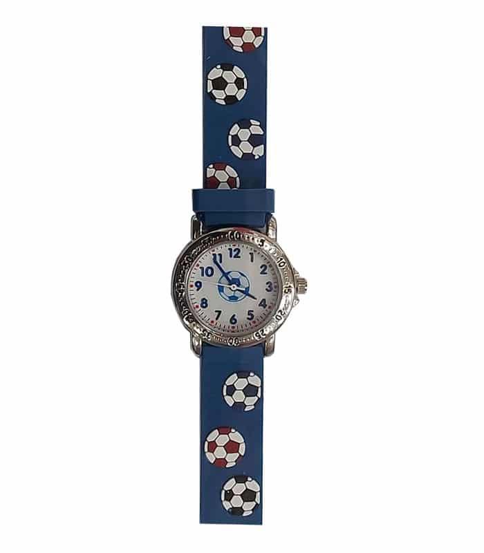 Ρολόι Χειρός Παιδικό Μπάλες Ποδοσφαίρου Μπλε