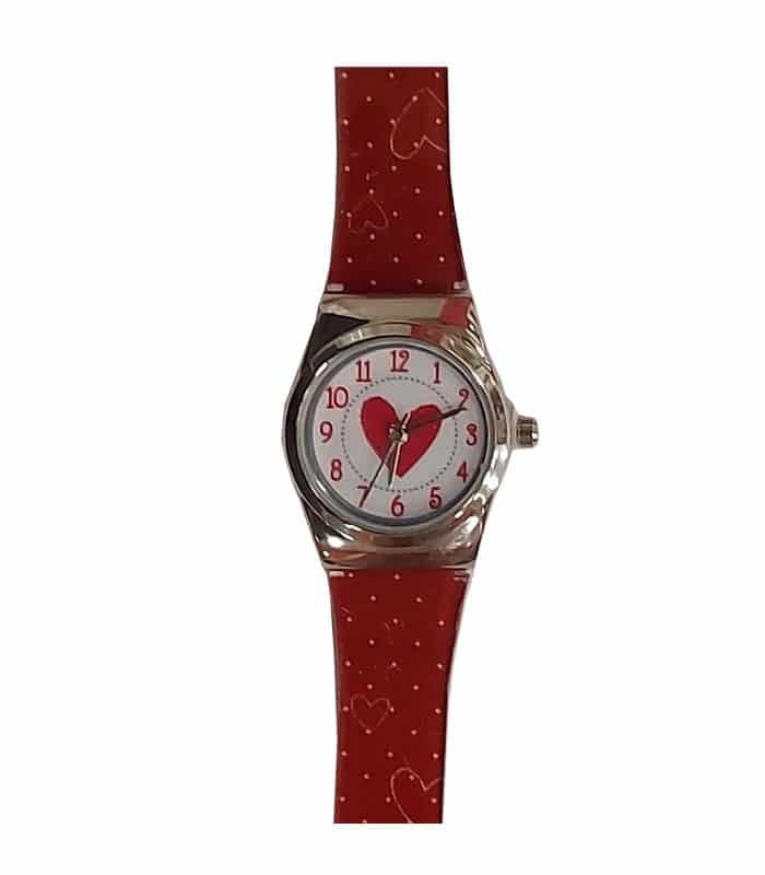 Ρολόι Χειρός Παιδικό Καρδιά Κόκκινο