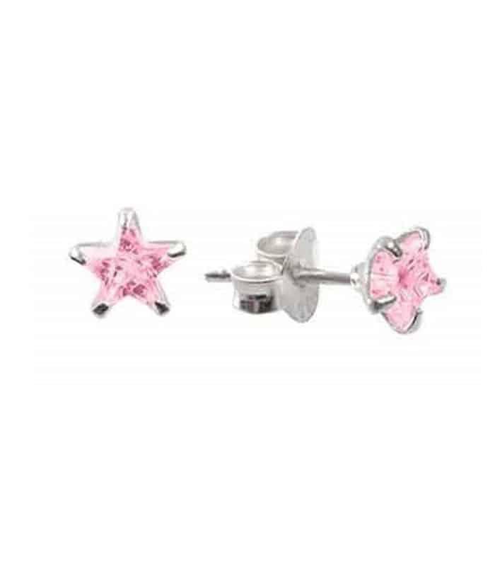 Σκουλαρίκια Παιδικά Από Ασήμι 925 Αστεράκια Ροζ