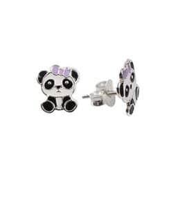 Σκουλαρίκια Παιδικά Από Ασήμι 925 Με Αρκουδάκι Πάντα