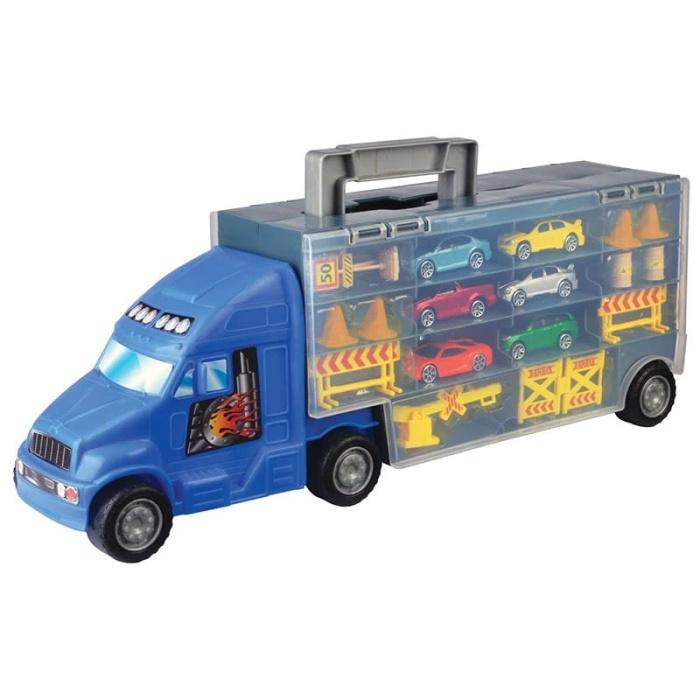 Νταλίκα Βαλιτσάκι σετ με 6 αυτοκίνητα truck carry case και 14 αξεσουάρ