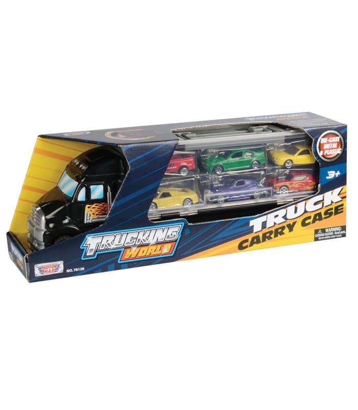 Νταλίκα βαλιτσάκι σετ με 6 αυτοκίνητα μαύρο truck carry case